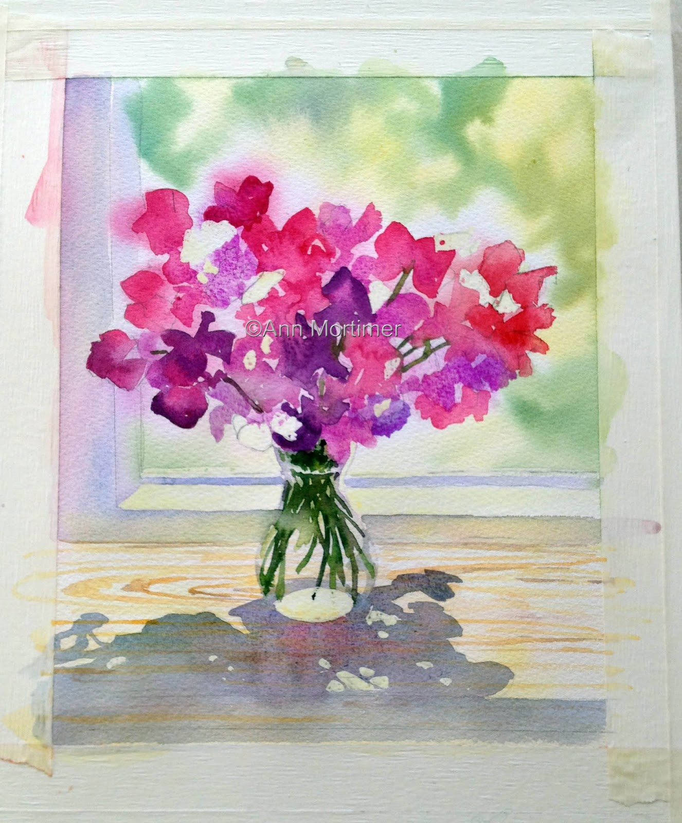 Sweet peas on a sunlit windowsillstages ann mortimer art ive dropped some green in wet in wet at the top of the vase important to leave the bottom of the vase unpainted reviewsmspy