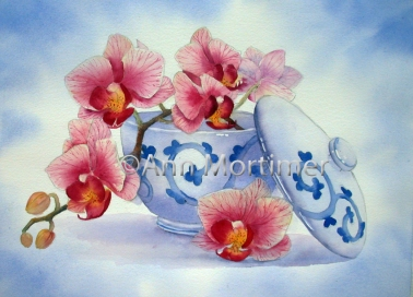 Orchid and japanese bowl