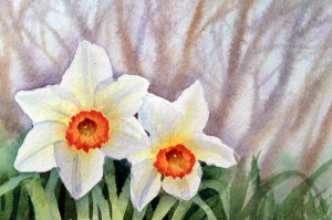 daffs in wood